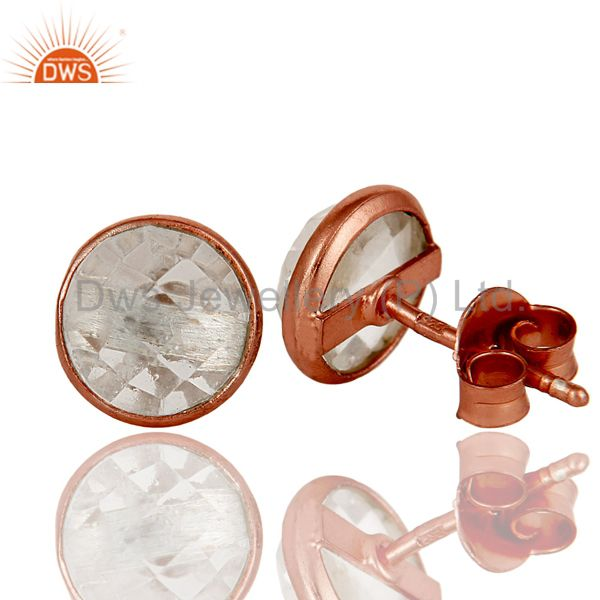 Suppliers 18k Rose Gold Plated 925 Sterling Silver Round Cut Crystal Quartz Stud Earrings
