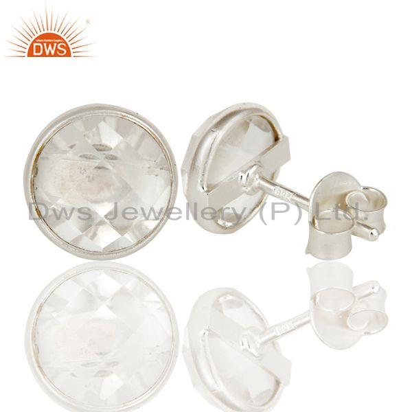 Suppliers Handmade Solid 925 Sterling Silver Round Cut Crystal Quartz Stud Earring