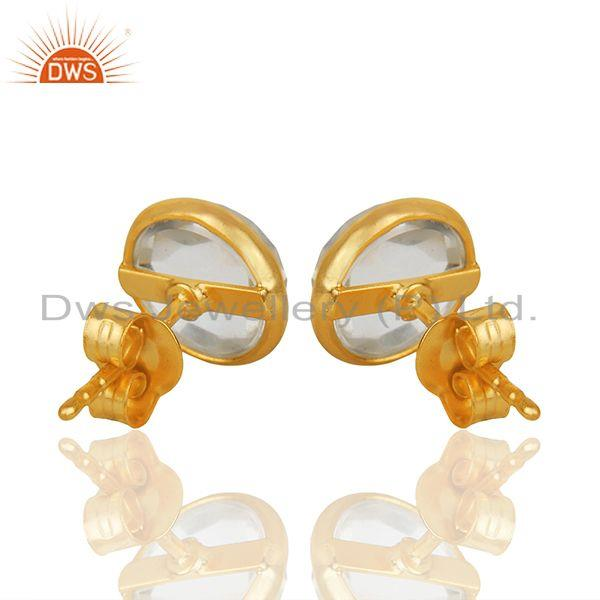 Suppliers 18k Yellow Gold Plated 925 Sterling Silver Round Cut Crystal Quartz Stud Earring