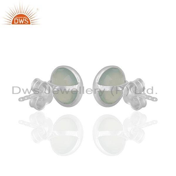Suppliers Round Aqua Chalcedony Gemstone 925 Silver Stud Earrings Manufacturer