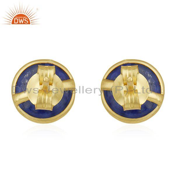 Wholesalers 18K Yellow Gold Plated Sterling Silver Lapis Lazuli Gemstone Round Stud Earrings