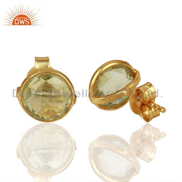 Suppliers Gold Plated 925 Silver Lemon Topaz Gemstone Stud Earrings Supplier