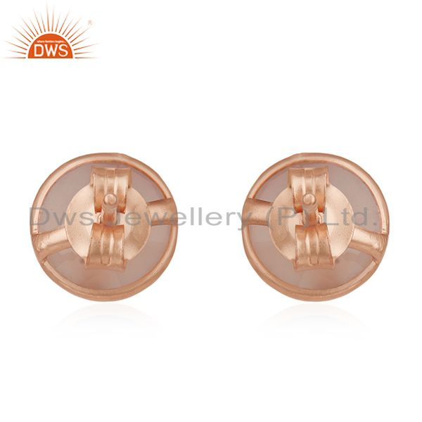 Wholesalers 18K Rose Gold Plated Sterling Silver Faceted Rose Chalcedony Stud Earrings