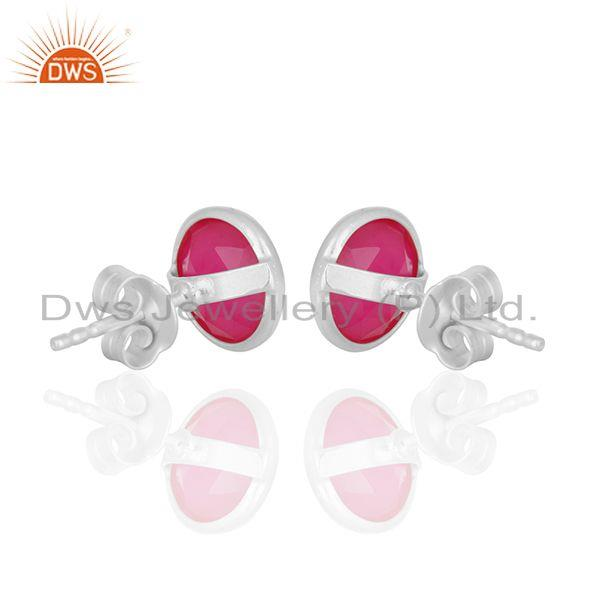 Suppliers Pink Chalcedony Gemstone Round Sterling Silver Stud Earrings Wholesale