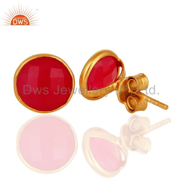 Designers Dyed Pink Chalcedony Gemstone Stud Earrings In 18K Gold Over Sterling Silver