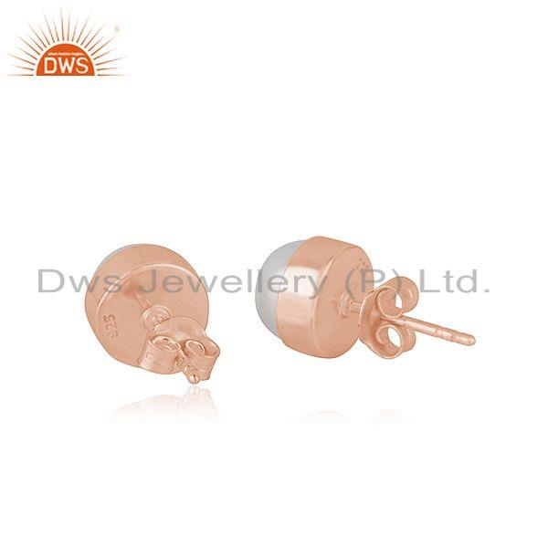 Suppliers Natural Pearl Rose Gold Plated 925 Silver Teenage Girls Stud Earrings Supplier
