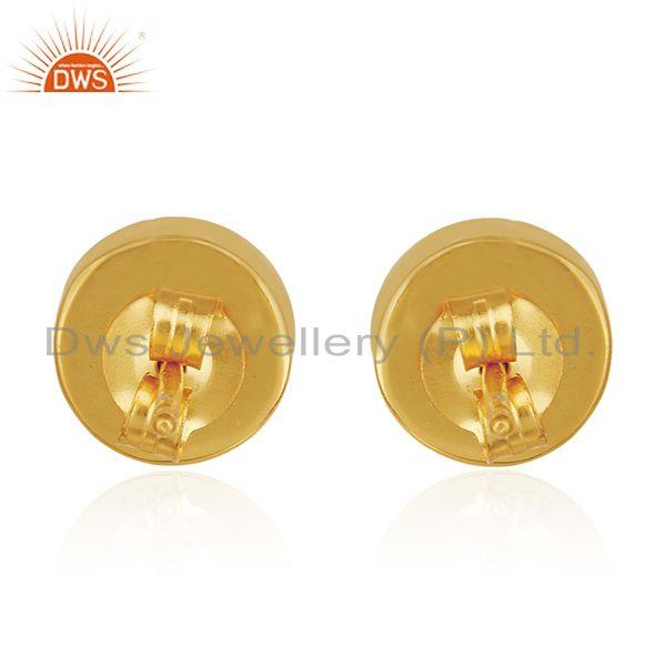 Suppliers Natural Pearl Gold Plated 925 Silver Round Stud Earring for Girls Jewelry