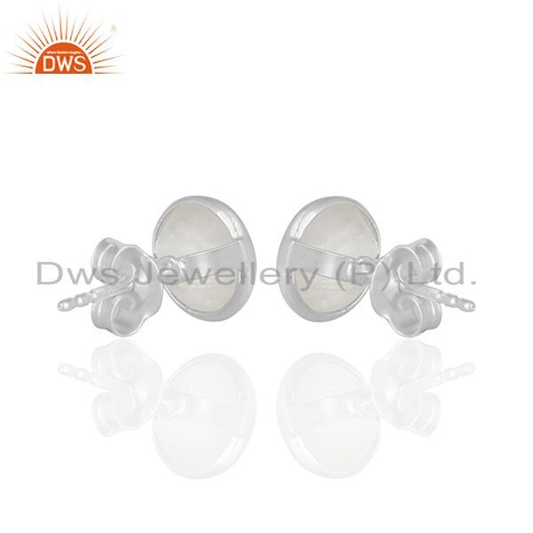 Suppliers Rainbow Moonstone Round Sterling Silver Girls Stud Earrings Suppliers