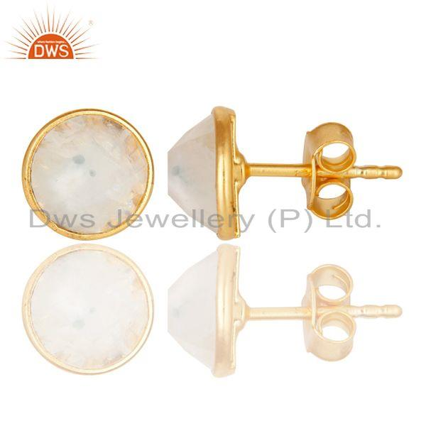 Suppliers Rainbow Moonstone Gemstone Studs Earrings Made In 18K Gold Over Sterling Silver