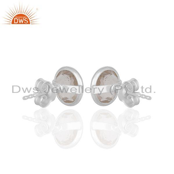 Suppliers Handmade Silver Plated 925 Sterling Silver Rose Quartz Gemstone Studs Earrings