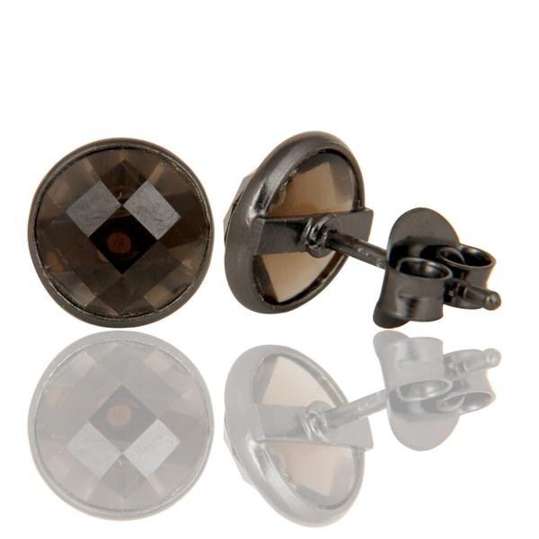 Suppliers Black Oxidized Sterling Silver Round Cut Stud Earrings with Smokey Topaz