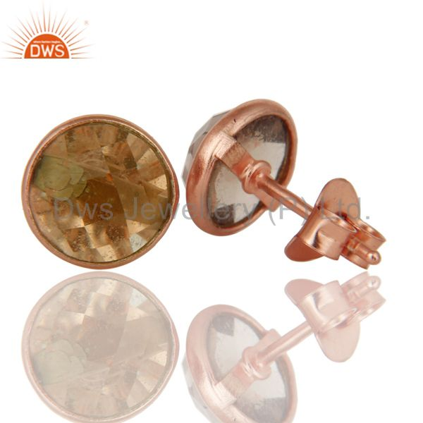 Suppliers 18k Rose Gold Plated Sterling Silver Round Cut Stud Earrings with Smokey Topaz