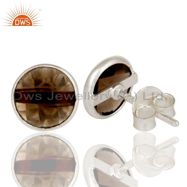 Suppliers Solid 925 Sterling Silver Round Cut Checkered Smokey Topaz Studs Earrings