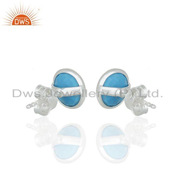 Suppliers Round Turquoise Gemstone 92.5 Silver Stud Earring Jewelry Manufacturer