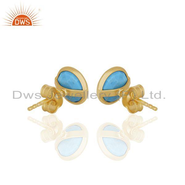 Suppliers Turquoise Round Gemstone 92.5 Silver Stud Earrings Manufacturer