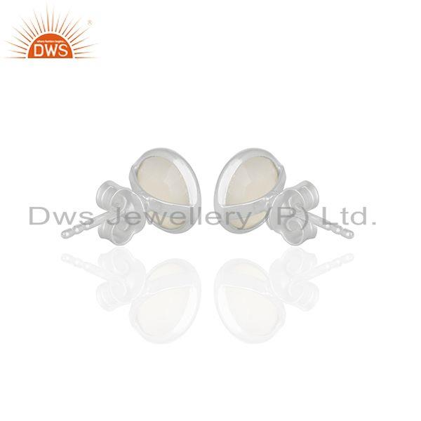 Suppliers White Chalcedony Gemstone Round Silver Stud Earrings Jewelry Wholesale