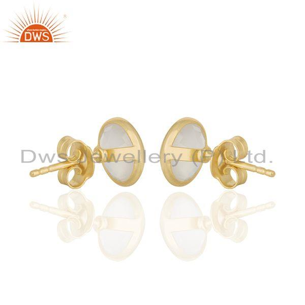 Suppliers 18K Yellow Gold Plated Sterling Silver White Chalcedony Gemstone Stud Earrings
