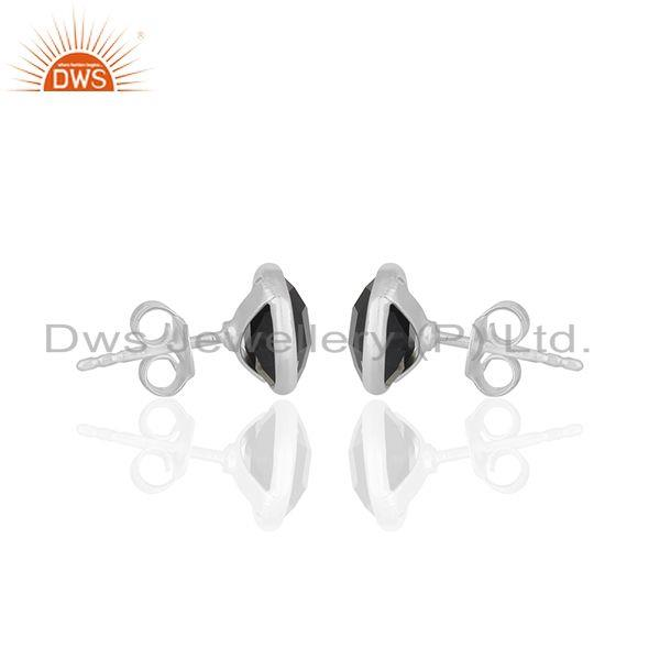 Suppliers Black Onyx Round Gemstone 925 Silver Stud Earring Jewelry Manufacturer