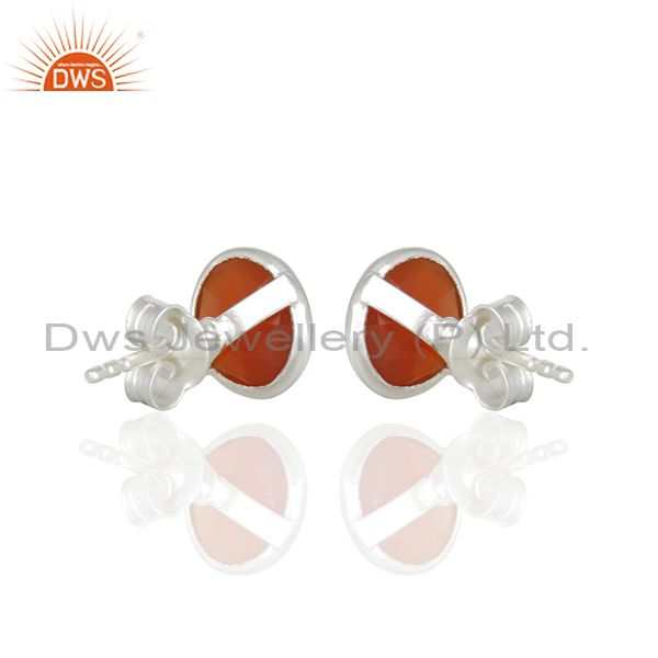 Suppliers Red Onyx Gemstone Sterling Silver Round Stud Earrings Manufacturer