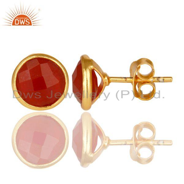 Designers 18K Yellow Gold Over Sterling Silver Red Onyx Gemstone Stud Earrings