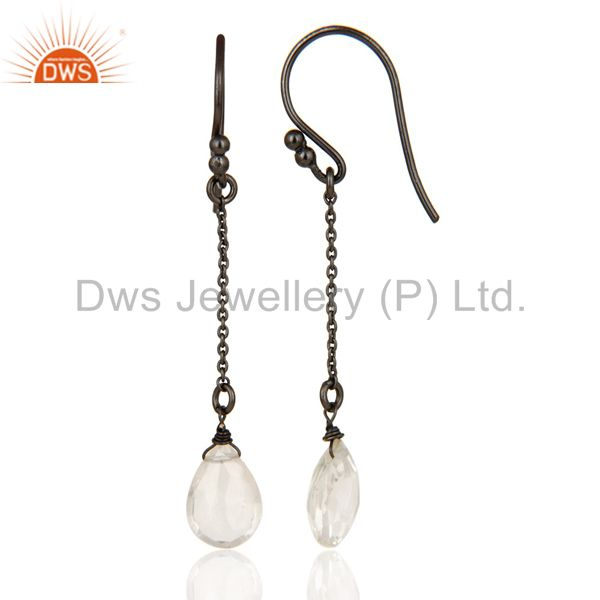 Suppliers Black Oxidized 925 Sterling Silver Handmade Crystal Quartz Chain Earring Jewelry