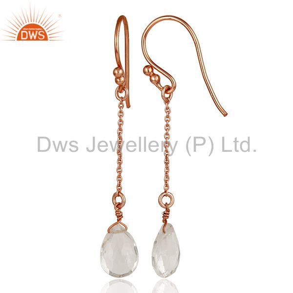 Suppliers 18K Rose Gold Sterling Silver Chain Style Checkered Crystal Quartz Drop Earrings