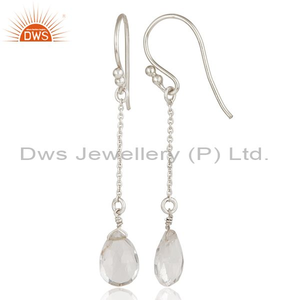 Suppliers Solid 925 Sterling Silver Chain Style Checkered Crystal Quartz Drop Earrings