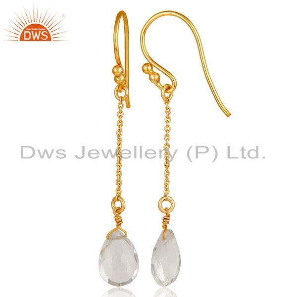 Suppliers 18k Gold Plated Sterling Silver Handmade Chain Style Earring with Crystal Quartz