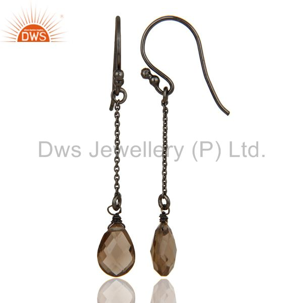 Suppliers Handmade Black Oxidized Sterling Silver Chain Style Smokey Topaz Earrings