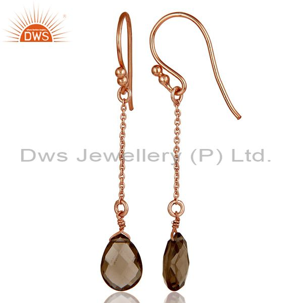 Suppliers 18K Rose Gold Plated 925 Sterling Silver Chain Style Smokey Topaz Drops Earrings