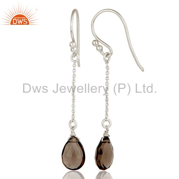 Suppliers Handmade Solid 925 Sterling Silver Chain Style Smokey Topaz Dangle Earrings