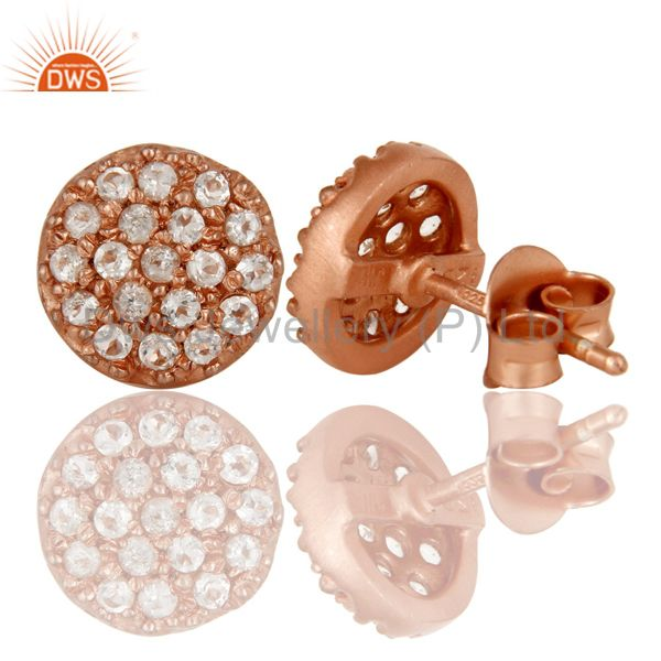 Suppliers 18k Rose Gold Plated 925 Sterling Silver Stud Earrings with White Topaz
