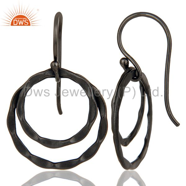Suppliers Black Oxidized 925 Sterling Silver Handmade Round Design Drops Earrings
