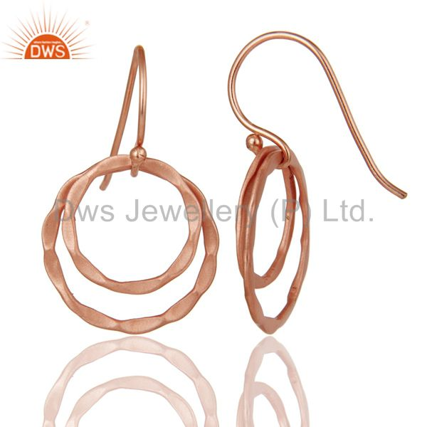 Suppliers 18k Rose Gold Plated 925 Sterling Silver Round Designer Earrings Jewelry