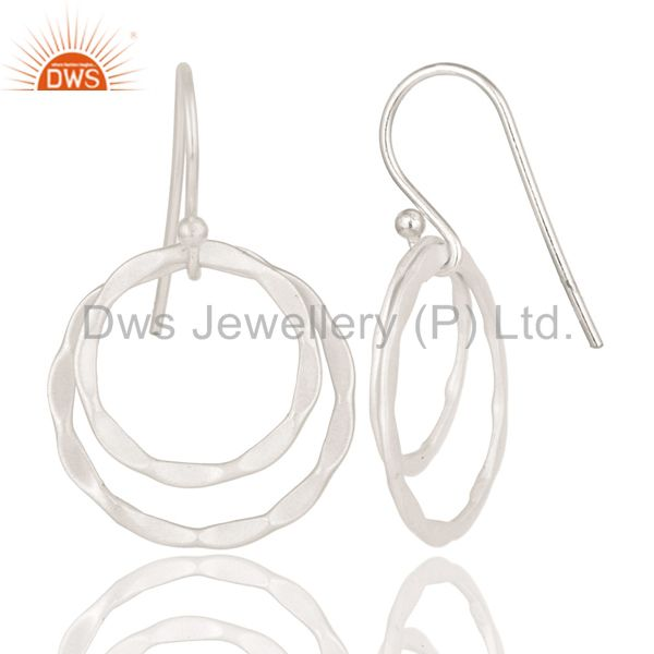 Suppliers Solid 925 Sterling Silver Handmade Double Round Drops Design Earrings