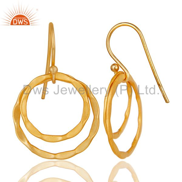 Suppliers 18k Yellow Gold Plated Sterling Silver Handmade Round Design Earrings