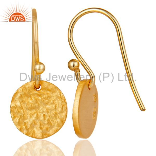 Suppliers 18k Gold Plated 925 Sterling Silver Handmade Textured Design Earrings Jewelry