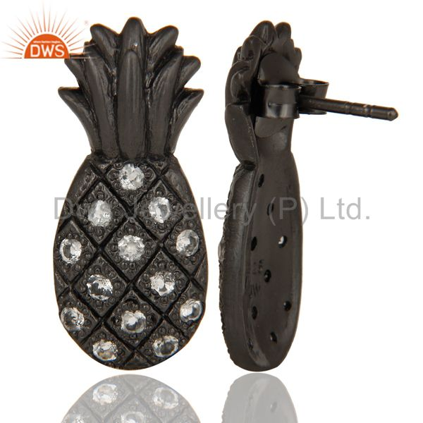 Suppliers Mind Blowing Black Oxidized Sterling Silver Pineapple Design Earrings with Topaz