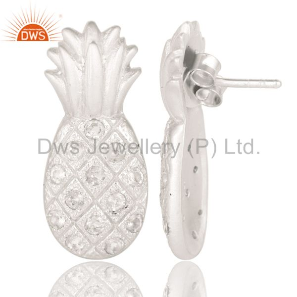 Suppliers Lovely Solid 925 Sterling Silver Pineapple Design Earrings with White Topaz
