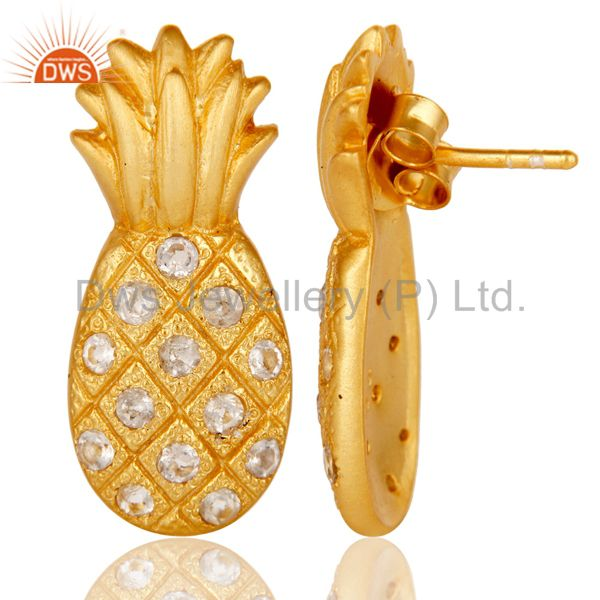 Suppliers 18k Gold Plated Sterling Silver Pineapple Design Earrings with White Topaz