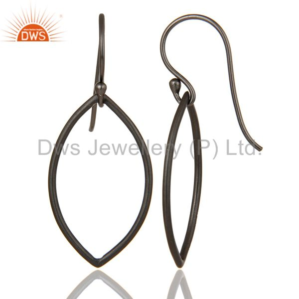 Suppliers Handmade Black Oxidized 925 Sterling Silver Pear Shape Design Earrings