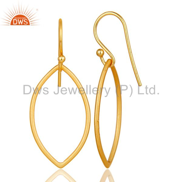 Suppliers Handmade 18k Yellow Gold Plated Sterling Silver Pear Shape Design Earrings