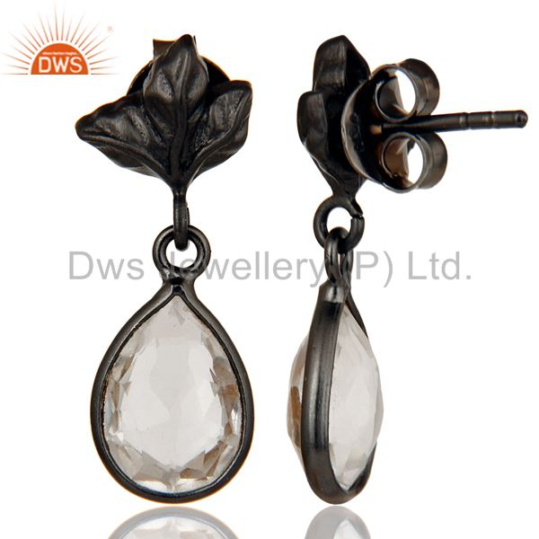 Suppliers Black Oxidized 925 Sterling Silver Leaf Carving Drop Earring With Crystal Quartz