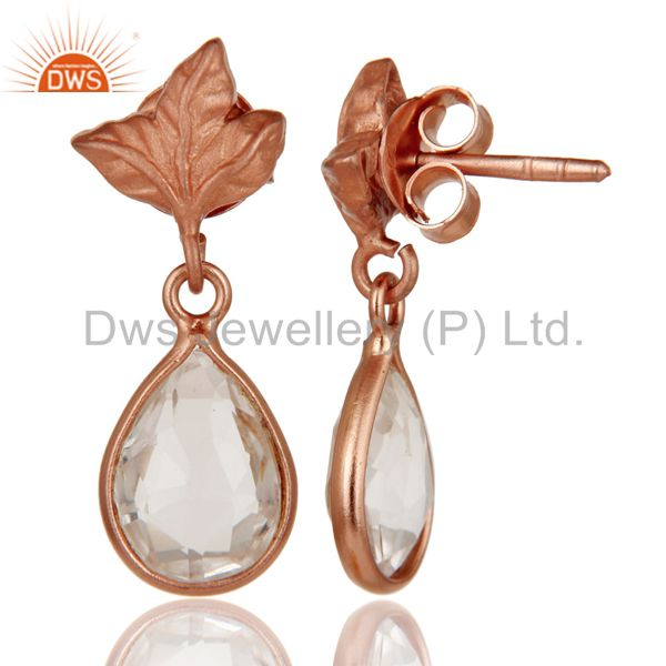Suppliers 18k Rose Gold Plated Sterling Silver Leaf Carving Earrings With Crystal Quartz