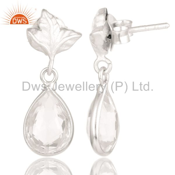 Suppliers Solid 925 Sterling Silver Leaf Carving with Crystal Quartz Drops Earrings