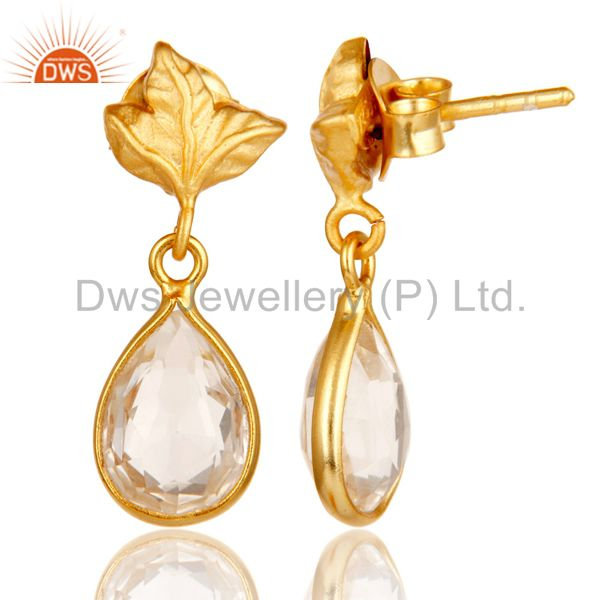 Suppliers 18k Yellow Gold Plated Sterling Silver Leaf Carving with Crystal Quartz