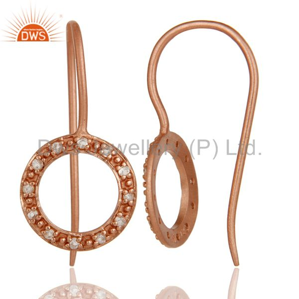 Suppliers Handmade Round Cut Sterling Silver Earrings with Rose Gold Plated & White Topaz