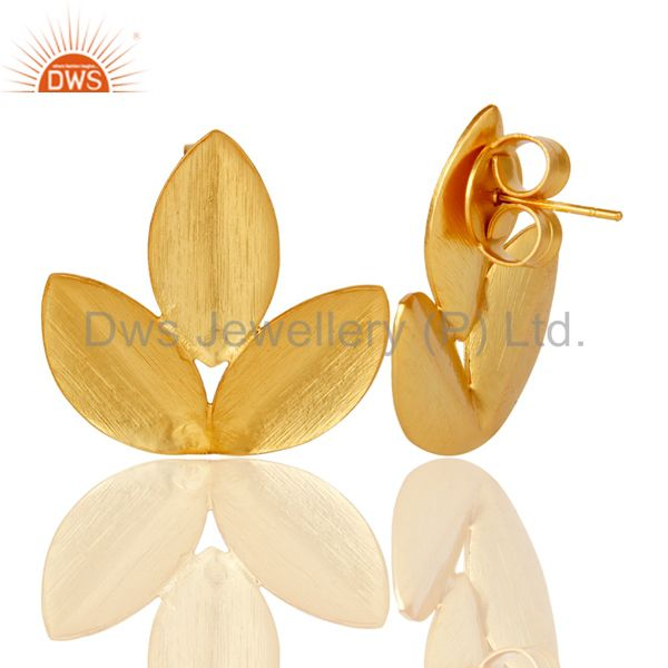 Suppliers 18k Yellow Gold Plated New Fashion Prong Set Brass Studs Earrings Jewellery