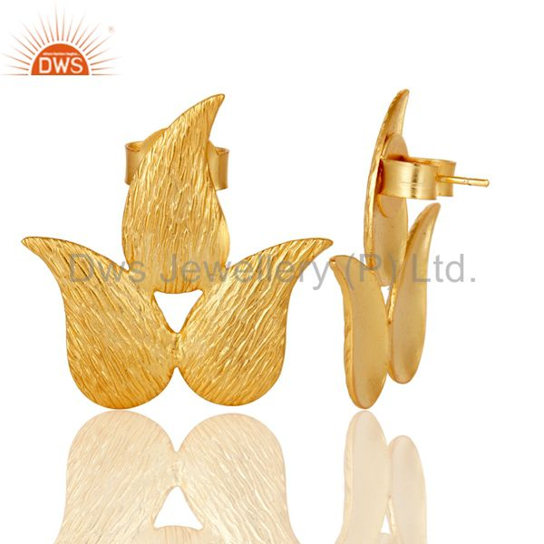 Suppliers 22k Gold Plated New Fashion Prong Set Brass Studs Earrings Jewellery