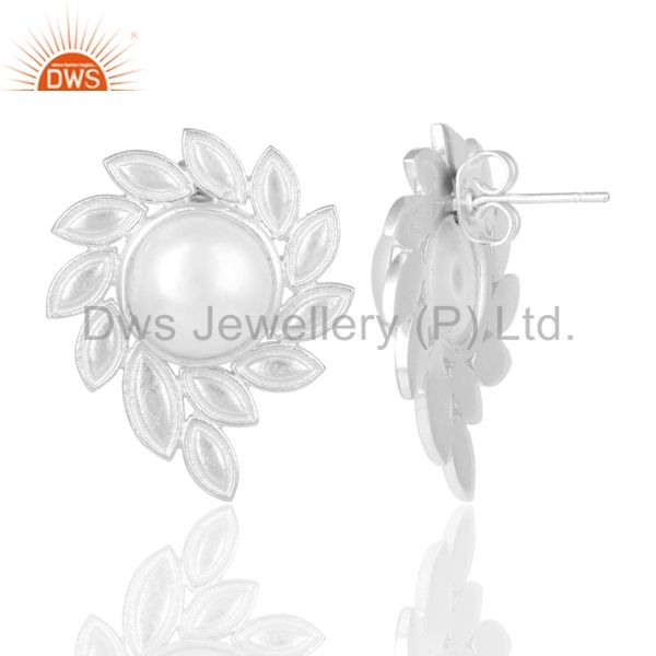 Suppliers Silver Plated Handmade Fashion Design Pearl Studs Brass Earrings Jewellery